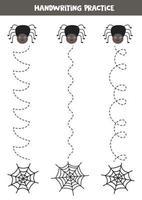Verfolge die Linien mit der niedlichen Spinne und ihrem Netz. Schreiberfahrung. vektor