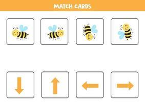 links, rechts, oben oder unten. räumliche Orientierung mit niedlicher Biene. vektor