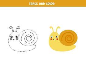 Spur und Farbe niedliche Schnecke. Arbeitsblatt für Kinder. vektor