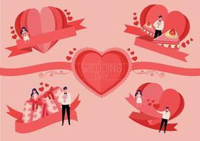 Herzetikett für Hochzeitskarte oder Valentinstag vektor