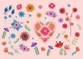 vacker blomma uppsättning vektor