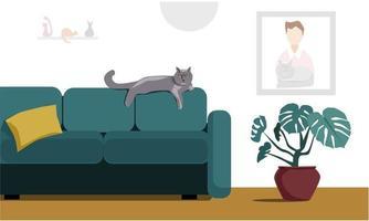 interiören i ett mysigt vardagsrum med en söt katt vektor