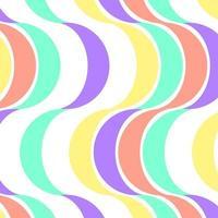 retro färgvågor i korall, vatten och gult vektor