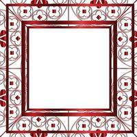 florale mittelalterliche Musterhintergrundschablone quadratisches metallisches Rot vektor