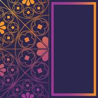 blommig medeltida mönster bakgrund mall rektangel glödande lila vektor