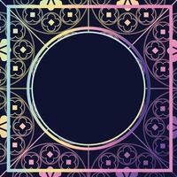 blommor medeltida mönster bakgrund mall cirkel lila pasteller vektor