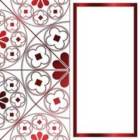 blommor medeltida mönster bakgrund mall rektangel metallic röd vektor