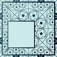 blommor medeltida mönster bakgrund mall kvart blå nyanser vektor
