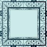 blommor medeltida mönster bakgrund mall fyrkantiga blå nyanser vektor