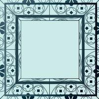 Blumen mittelalterliche Musterhintergrundschablone quadratische blaue Farbtöne vektor