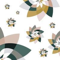 grafisk blomma scatter mönster bakgrund grönt guld vektor