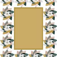 grafisk blomma rektangulär mall med kopia utrymme guldgrå vektor