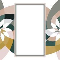 grafisk blomma rektangel mall med kopia utrymme guldgrå vektor