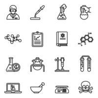 kemi och laboratorierelaterad ikonuppsättning vektorbild vektor