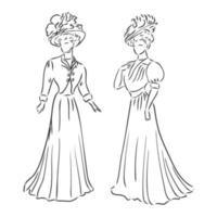 antik gekleidete Dame. alte Mode Vektor-Illustration. viktorianische Frau in historischer Kleidung. Vintage stilisierte Zeichnung, Retro-Holzschnitt-Stil. Retro-Kleid, Vektorskizze auf weißem Hintergrund vektor