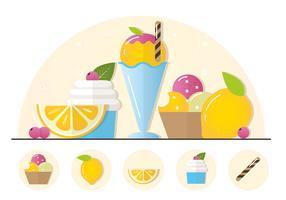 Vektor-Frucht-Eiscreme-Illustration