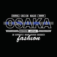 japan osaka denim typografi t-shirt design vektor
