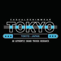 Japan Tokio Denim Typografie T-Shirt Design vektor