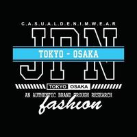 Japan Tokio-Osaka Denim Typografie T-Shirt Design vektor