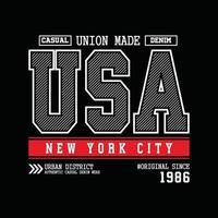 USA New York City Denim Typografie T-Shirt Design vektor
