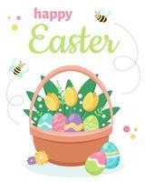 glad påsk gratulationskort. korg med påskägg och blommor. vektor illustration