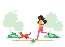 svart kvinna som joggar med hunden på våren parkerar. hälsosam livsstil, sport, utomhusaktivitetskoncept. vektor illustration.