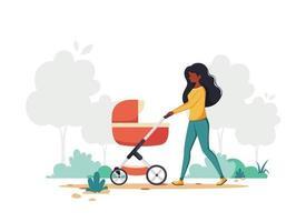 svart kvinna som går med barnvagn. utomhusaktivitet. vektor illustration. tryck