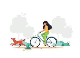 kvinna ridning cykel med hund i park. hälsosam livsstil, utomhusaktivitetskoncept. vektor illustration. tryck