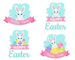 glad påsk gratulationskort. påskägg, kanin. vektor illustration