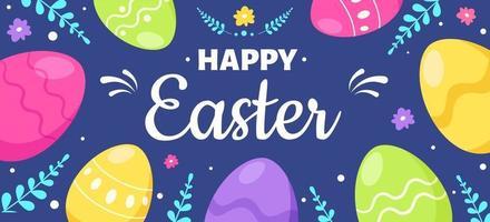 glad påsk gratulationskort. påskägg. vektor illustration
