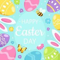 glad påsk gratulationskort. påskägg, kaninöron, blommor, fjäril. vektor illustration