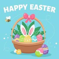 glad påsk gratulationskort. korg med påskägg, blommor och en kanin. vektor