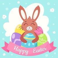 glad påsk gratulationskort. kanin med påskägg. vektor illustration