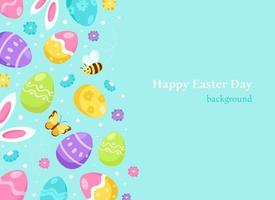 påsk bakgrund kaninöron, påskägg, blommor. vektor illustration