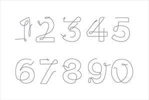 Satz von Zahlen im Strichgrafikstil. Geburtstagsvorlagekarte. durchgehende Linie. eine Linie vektor