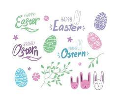 påsk med ägg, bokstäver, tyska teckensnitt och kanin. fjäderelement vektor