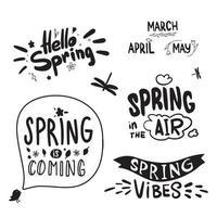 Frühlingsbeschriftung. Kalligraphie Hallo Frühling, Frühlingsmonate. der Frühling kommt. vektor