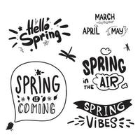 vårbokstäver. kalligrafi hej vår, vårmånader. våren kommer. vektor