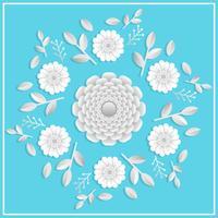 3d realistische Blumen Papercraft mit flacher Tosca-Hintergrundvektorillustration vektor
