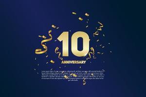 10-jähriges Jubiläum. goldene Nummer 10 mit funkelnden Konfetti vektor