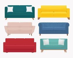 Sofagarnitur. Sammlung von stilvollen modernen gemütlichen Couch. Vektorillustration im flachen Stil, lokalisiert auf weißem Hintergrund vektor