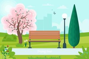 vårlandskap med bänk i parken och ett blommande träd. vektorillustration i platt stil