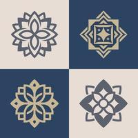 uppsättning lyxiga monokroma utsmyckade logotyper i olika färger och sorter. vektor