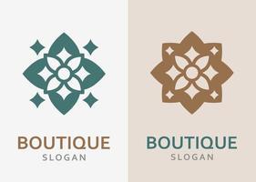lyxig monokrom utsmyckad logotyp i olika färger och variation. vektor