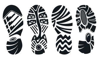 Silhouette von Sportlaufschuhen lokalisiert auf Weiß. Fußabdruck der Schuhsohle. vektor