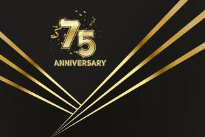 75-jähriges Jubiläum. goldene Nummer 75 mit funkelnden Konfetti vektor