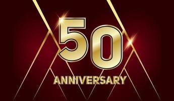 50-jähriges Jubiläum. goldene Nummer 50 mit funkelnden Konfetti vektor