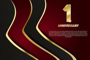 Jubiläumsfeier im ersten Jahr. goldene Nummer 1 mit funkelnden Konfetti vektor