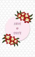 Speichern Sie die Datumsgrußkarte mit Blumenelementen isoliert und bearbeitbar. vektor
