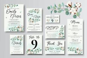 Satz Hochzeitseinladungskartenschablonen, grüner Eukalyptus und Baumwollblumen vektor
